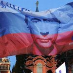 Russian flag with Vladimir Putin's face