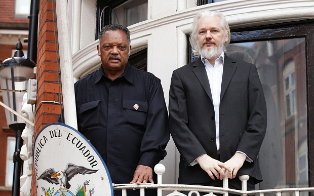 WikiLeaks founder Julian Assange (right) with Reverend Jesse Jackson outside the Embassy of Ecuador in London. PRESS ASSOCIATION Photo. Picture date: Friday August 21, 2015. See PA story LEGAL Assange. Photo credit should read: Yui Mok/PA Wire